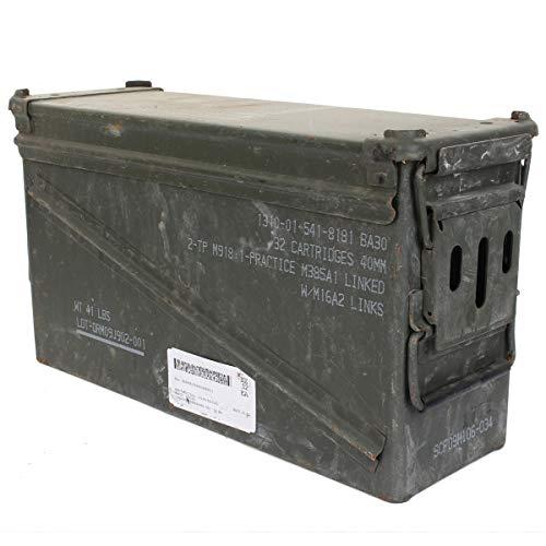 A.Blöchl Massive Originale gebrauchte Munitionskiste der U.S. Army für 32 Patronen Kaliber 40 mm Metallkiste Mun-Kiste Behälter Metallbox