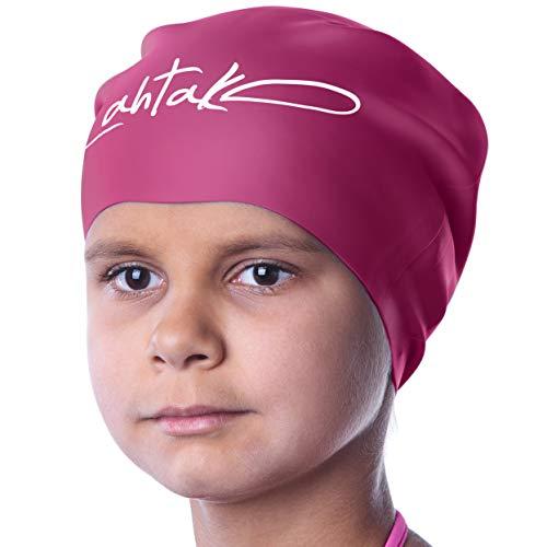Badekappe Kinder Lange Haare - Badekappe für Mädchen Jungen Kids Teens mit langem lockigem Haar Zöpfe Dreadlocks - 100% Silikon hypoallergene wasserdichte Badehaube (Windsor Wein S)