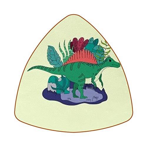 Posavasos triangulares para bebidas en forma de abanico, de piel de dinosaurio, para proteger muebles, resistente al calor, decoración de bar de cocina, juego de 6