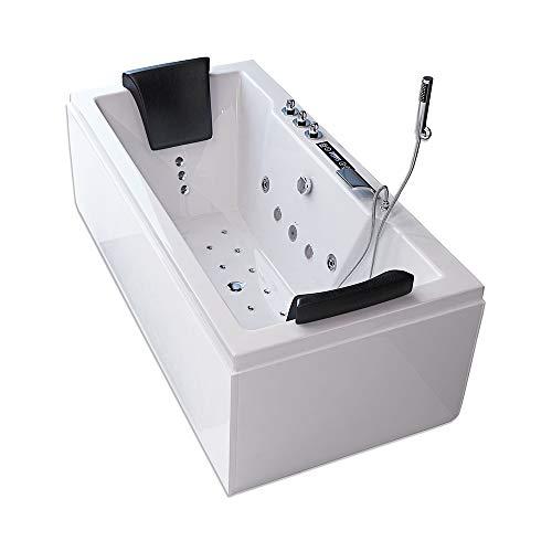 Home Deluxe - Whirlpool Badewanne -Laguna M Pure weiß mit Heizung und Massage - Maße: 180 x 90 x 55 cm | Wanne für 2 Personen, Indoor Jacuzzi