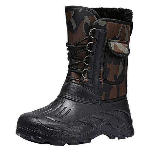 Botte de Neige Homme Hiver, Manadlian Bottes Militaires Camouflage Bottines Chaud Boots Fourrure Cuir Imperméable Sneakers