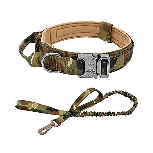 pet-leashes Collar táctico para perro de pastor alemán, tamaño mediano, grande, para caminar, entrenamiento, collar de perro, mango de control, juego de bandera, XL
