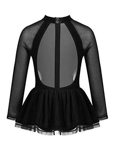YiZYiF Vestido Patinaje Artistico Niñas Manga Larga Maillot Gimnasia Ritmica con Falda Body Ballet Danza Ropa Bailarina Competición Actuación Negro 12 Años