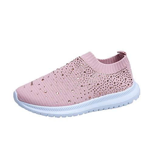 Calcetines para mujer Zapatos Zapatos deportivos Zapatos cómodos y transpirables para caminar Mocasines impermeables de suela gruesa Deportes Viajes Cojín de aire Zapatos tejidos de malla,Rosado,42