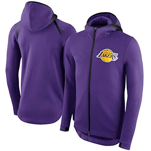Sudadera con Capucha para Hombre Fans De La NBA Jersey Los Angeles Lakers Sudadera Clásica con Cremallera con Cordón Manga Larga Casual Cómodo Jersey Cálido S-XXXL Purple-L