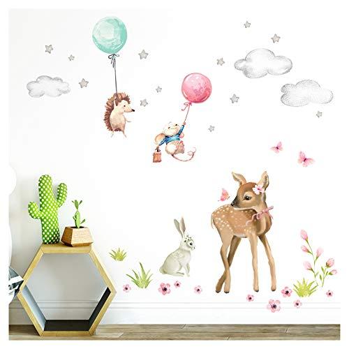Little Deco Aufkleber REH Hase Igel Maus I M - 87 x 93 cm (BxH) I Wandaufkleber Luftballons Sterne Wandtattoo Mädchen Kinderzimmer Sticker Babyzimmer Bild DL468