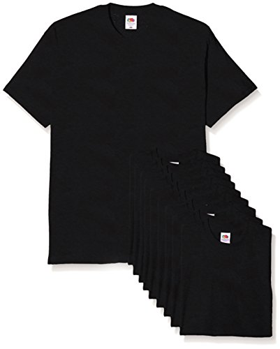 Fruit of the Loom Herren Original T. T-Shirt, Schwarz, XL (10er Pack)