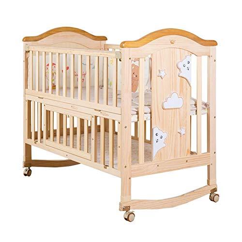 XY wieg babybedje slee kinderbedje peuter bed, wieg massief hout multifunctionele baby kind wieg pasgeboren verstelbare snijden groot bed met wiel S