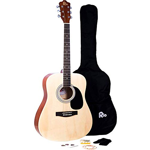 Rio Natural - Guitarra acústica de tamaño completo 4/4, 104,1 cm, paquete de cuerdas de acero para principiantes, color natural