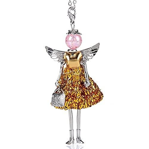 QiuYueShangMao Collar Colgante Falda de Gasa Muñeca de bebé Collar Lindo Colgante de Mujer Joyería de declaración de niña Novia, Esposa, Hija, Madre