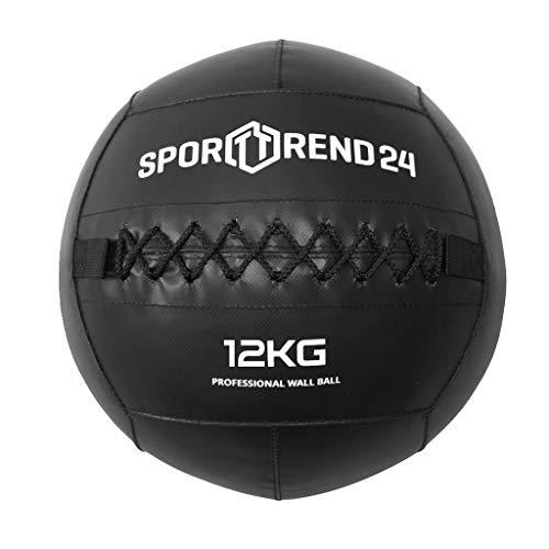 Sporttrend 24 - Wall Ball 3-12kg in schwarz | Gewichtsball Trainingsball Gewicht Ball Bälle Crossfit Fitness (schwarz, 9kg)