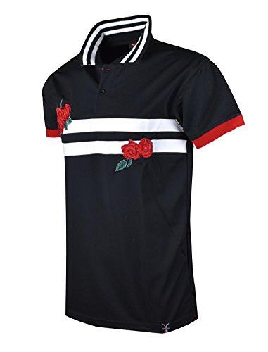 SCREENSHOTBRAND-S11833 Mens Hipster Hip-Hop Premium Tees - Stylish Fashion Rose Flower Embroidery Striped Polo T-Shirt - Black-Medium