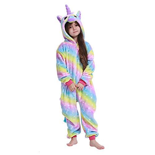 ALBRIGHT Kinder Overall Cosplay Pajamas Kostüm Einhorn, Tier Onesie Nachthemd Schlafanzug Kapuzenpullover Nachtwäsche für Weihnachten Halloween Karnival Party Jumpsuit (130-140cm)