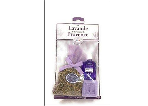 Huile essentielle de lavandin + savon de Marseille à la lavande + sachet de fleur de lavande et lavandin