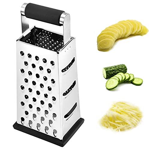 LERT 4 Lados Rallador Slicer Rallador de Acero Inoxidable Rallador de Cocina Multifuncional para Rallado/Rallado/Rebanado