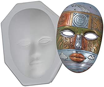 "Mayco CD879 Plain Plaster Face Mask Mold, 9"" x 5"" Size, 6.5"" Height, 8.5"" Width, 11.75"" Length"