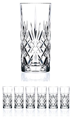 Set of 6 CRYSTAL HIGHBALL Durable Drinking glasses Limited Edition...
