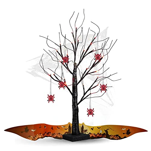 Hdiefei Árbol de Halloween negro de 2 pies con decoraciones de murciélago, luces moradas, funciona con pilas, pequeño árbol de ramita para niños (color de araña roja)