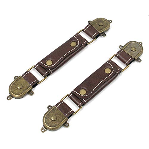 Mironey Replacement Luggage Parts Handle Brown Vintage Style Replacement Strap Handle Leather Style Amplifier Handle Pack of 2