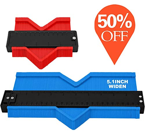 [Upgrade] 2 Piece Contour Gauge 10inch Blue Widen and 5inch Red Duplicator Shape Profile DIY Woodworking Tools for Corners Contoured
