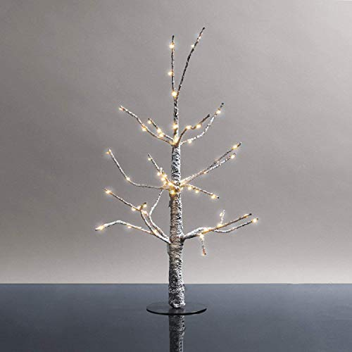 LampLust Mini Lighted Christmas Tree - 18 Inch Size, Prelit Snow Covered Branches with 60 Warm White LED Lights, Indoor Use, Plugin, Holiday Decor