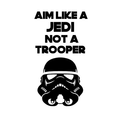 Aim Like a Jedi and not a Trooper-Star Wars Toilet seat lid Decal (7x11, Black)