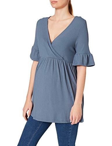 MAMALICIOUS Damen MLREVA TESS 2/4 Jersey TOP 2F A. T-Shirt, China Blue, L