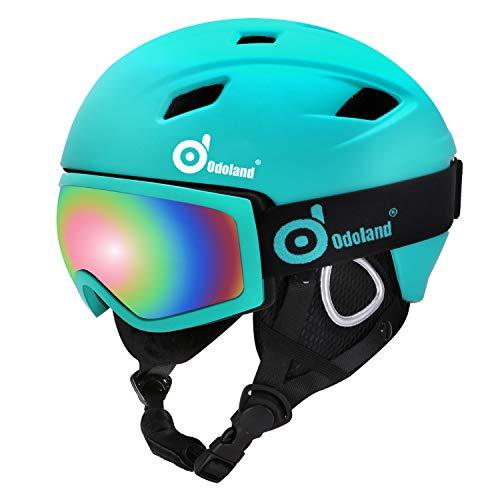 Odoland Kit de Casco de Esquí con Gafas de...