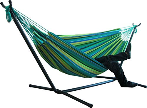 Double Canvas Striped Hammock with Metal Frame Stand, Lazy Daze Hammock Lounge Chair, Outdoor Hanging Swing Hammock Garden Patio (Color F,with Stand)