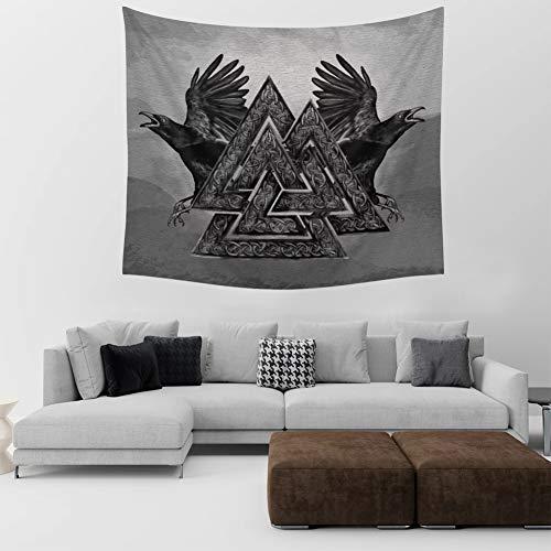 Vikingo - Tapiz de tatuaje de lobo celtas para colgar en la pared, diseño de Odin de Raven Runas para decoración de dormitorio, color gris B, XXL