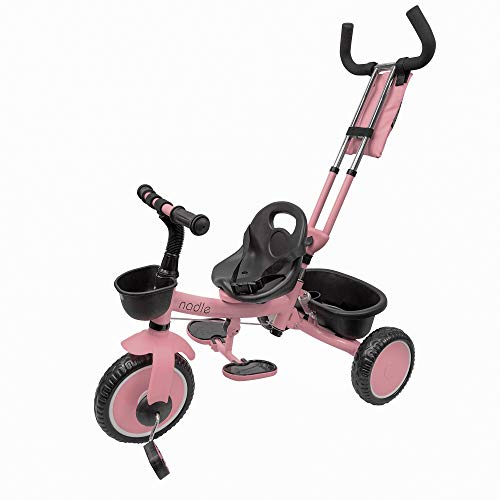Nadle Pink Steer and Stroll Kids Trike for 2 Years Old 3 in 1 Up to 55Lb, 10-inch Wheels