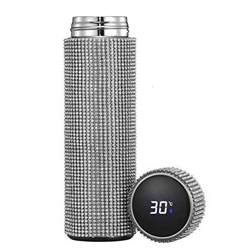 Vasos térmicos brillantes de 500 ml,botella de agua térmica reutilizable de acero inoxidable con diamantes de imitación, botella de agua térmica de alta gama aislada, regalo para hombres y mujeres