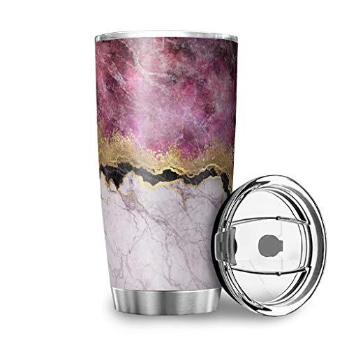 Taza con tapa de tinta rosa, mármol y acero inoxidable, taza de viaje, diseño 3D, aislamiento al vacío, a prueba de salpicaduras, taza de té blanco, 600 ml