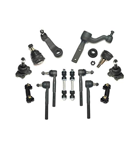 14 Pc Upper Lower Ball Joints Tie Rods Adjusting Sleeves Sway Bars Idler & Pitman Arm Complete Suspension Kit