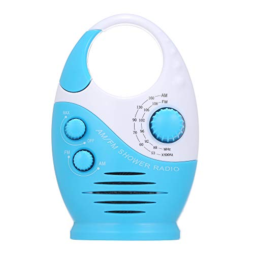 Leslaur AM / FM Mini-Duschradio Badezimmer Wasserdichtes Radio Hängendes Musikradio Eingebauter Lautsprecher (ohne Batterie)