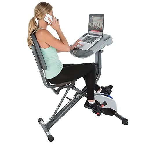 Exerpeutic EXERWORK 1000 Klappbarer Liege-Heimtrainer mit verstellbarer Arbeitsfläche. Trainieren Sie während Sie arbeiten!