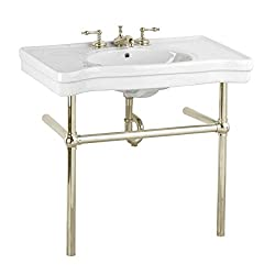 White Bathroom Console Sink With Metal Legs Grade A Vitreous China Belle Epoque With Satin Nickel Bistro Leg Frame