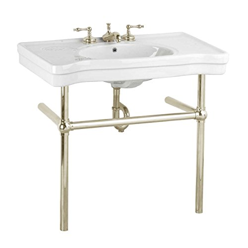 White Console Sink Deluxe Belle Epoque China With Satin Nickel Bistro Legs