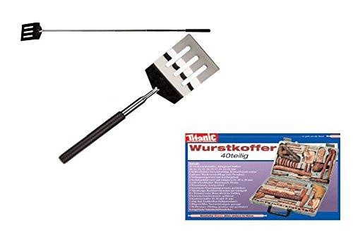 Vatertagsgeschenk - Ausziehbarer Grill & Pfannenwender aus Edelstahl & Postkarte