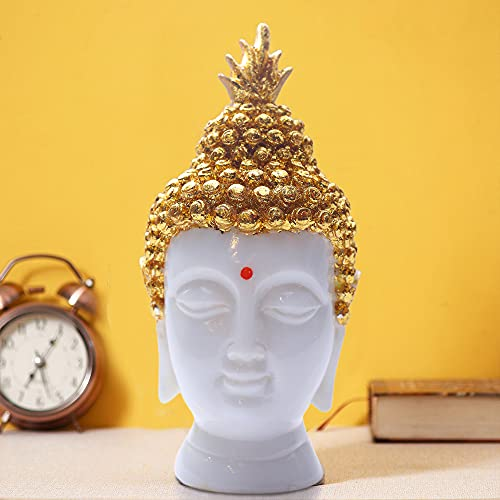 """CREATION STORE"""" Gold Buddha Head Statue for Home Decor Outdoor Garden Relaxing God Figurine Asian Sculpture, Showpiece for Living Room Office Table Decoration Gift- 5 Inch (Marble White)"""