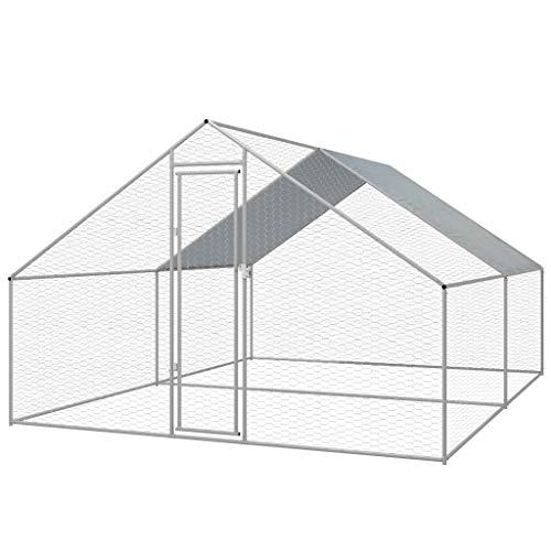 vidaXL Outdoor-H¨¹hnerk?fig Verzinkter Stahl 3 x 4 x 2 m