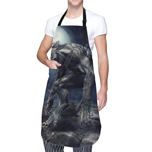 COFEIYISI Delantal de Cocina Aullido Hombre lobo Fantasía Monstruo Acantilado rocoso Luna llena Cuento de hadas Escena nocturna Delantal Chefs Cocina para Cocinar/Hornear