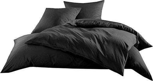 Mako-Satin Baumwollsatin Bettbezug Uni einfarbig zum Kombinieren (Bettbezug 135 cm x 200 cm, Schwarz)