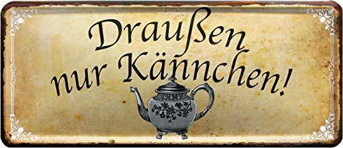 Rahmenlos 1318 Plaque décorative en tôle Motif Tasse de café 28 x 12 cm