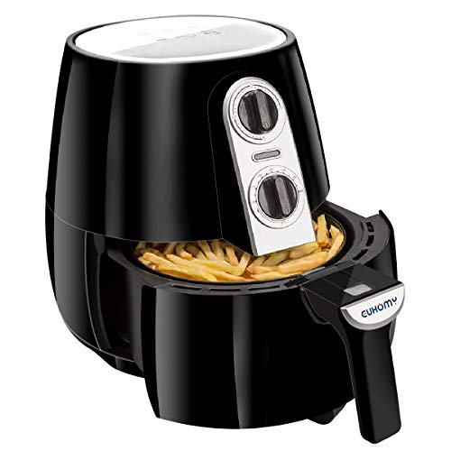Euhomy Air Fryer, 4.2 Quart Electric Oil-less Fryer with Smart Time & Temperature Control, Cookbook, 1500 Watt, Black Air Cooker