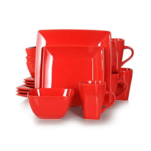 XXDTG Conjunto de vajilla Cuadrado de Porcelana de cerámica roja de 16/32/48/48 Piezas con Placa de Cena, Placa de Postre, tazón, Conjunto de Taza de 240 ml (Size : 16-Piece)