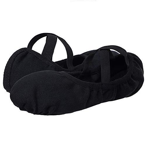 Ballettschuhe mädchen Ballettschuh Tanzschuhe elastische Leinwand Geteilte Ledersohle für Kleinkinder Kinder Frauen Erwachsene(Bitte wählen Sie eine Nummer größer)