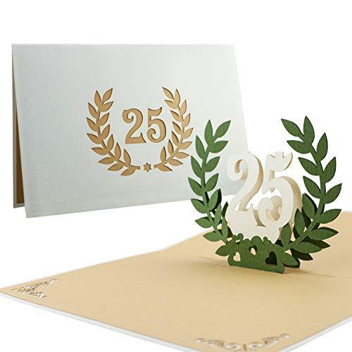 L12 tarjeta de felicitación para bodas de plata, hecho a mano desplecable con diseño 3D de acero