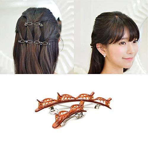 Frisurenhilfe Haarreif mit Klammern, Gothic Punk Haar Styling Doppelknall Frisur Haarnadel Doppelter Pony Twist Haarband Clips (2PC, A-Brown)