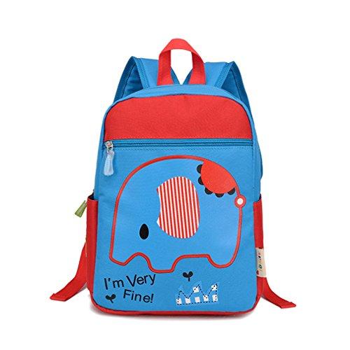 La Vogue Sac à Dos Scolaire Ecole Primaire Maternelle Fille Garçon Motif Bleu Eléphant Taille32*24*14cm